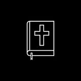 Holy bible book line icon, religion elements. Religious sign, a linear pattern on a black background, eps 10 vector illustration
