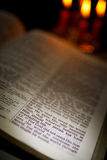 Holy Bible and Candles Stock Photo