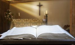Holy Bible In A Church Stock Photography