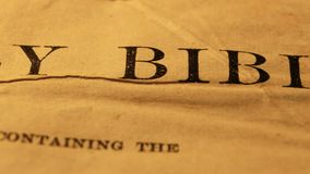 Holy Bible. Close up of a Holy Bible stock footage