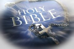 Holy Bible With Clouds, Gold Cross & Zoom Burst High Quality. Stock Photo Stock Image