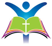 Holy Bible Cross Logo. A bible logo icon with a person raising their hands stock illustration