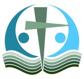Holy bible cross  logo. Vector illustration of holy bible book with cross on white background - suitable for logotype Stock Images