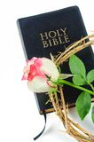 Holy bible and crown of thorns with  rose Royalty Free Stock Photo
