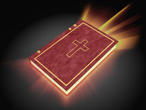 Holy bible. 3d illustration of shining holy bible, over dark background royalty free illustration