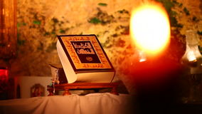 A Holy Bible inside Our Lady of Mantara shrine stock footage