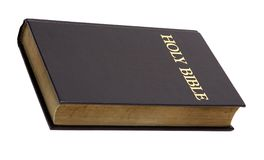 Holy Bible isolated on white. Front cover and pages of a Holy Bible isolated on a white background Stock Photography