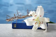 Holy Bible, lily and crown of thorns. On light background royalty free stock photography