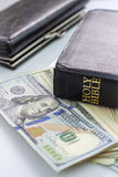 Holy Bible and money Royalty Free Stock Photo