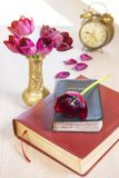 Holy Bible and old gold alarm clock on wood table Royalty Free Stock Photo