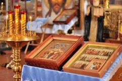 Holy Bible and Orthodox cross Stock Photos