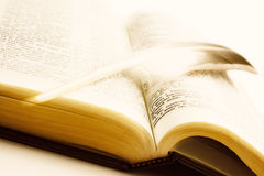 Holy Bible with plume Stock Image
