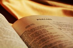 Holy Bible and the Psalms, close up Royalty Free Stock Image