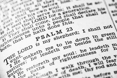Holy Bible Psalms. Psalm 23 in the Holy Bible Stock Photo
