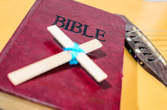 Holy Bible put on guitar. Stock Images
