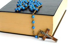 Holy Bible and Rosary royalty free stock image