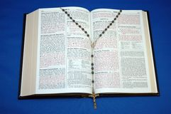 Holy Bible and Rosary royalty free stock photo
