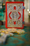 Holy bible with rosary beads Stock Image