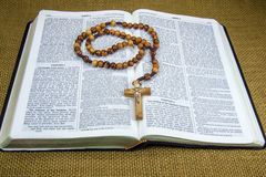 Holy Bible and Rosary Stock Images