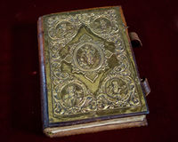 The Holy Bible sitting at the altar of the blessed church Royalty Free Stock Photo