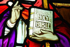 The Holy Bible. Stained glass image of the Holy Bible Stock Image