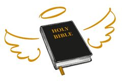 Holy Bible with wings and halo gospel, the doctrine of Christianity, symbol of Christianity hand drawn vector stock illustration