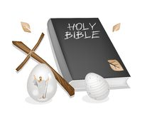 Holy Bible with Wooden Cross and Easter Eggs Royalty Free Stock Image