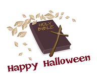 Holy Bible and Wooden Cross with Word Happy Halloween Stock Image