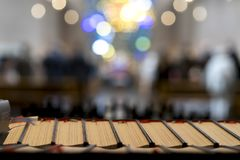 Holy bibles in a church royalty free stock photo