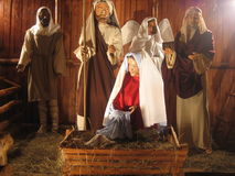 The holy birth. Christmas decoration in Brad city Romania Stock Photo