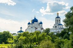 Holy Bogolyubovo Monastery in sunny summer day, Vladimir region, Russia. Holy Bogolyubovo monastery, which is one of the oldest in Russia, was founded by the Royalty Free Stock Photo