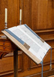 Holy Book on Brown Wooden Stand Stock Photos