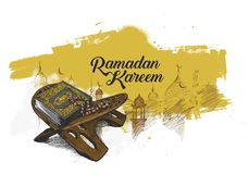 The holy book of the Koran on the stand with calligraphy stylish Stock Images