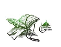 The holy book of the Koran on the stand with calligraphy stylish. Lettering Ramadan Kareem text  , Hand Drawn Sketch Vector illustration Stock Photo