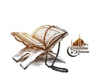 The holy book of the Koran on the stand with calligraphy stylish. Lettering Ramadan Kareem text  , Hand Drawn Sketch Vector illustration Stock Image