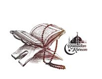 The holy book of the Koran on the stand with calligraphy stylish. Lettering Ramadan Kareem text  , Hand Drawn Sketch Vector illustration Royalty Free Stock Photo