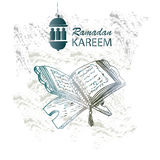 The holy book of the Koran on the stand. The holy book of the Koran on the stand with lettering ramadan kareem Stock Photography