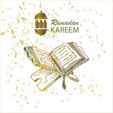 The holy book of the Koran on the stand. The holy book of the Koran on the stand with lettering ramadan kareem Stock Images