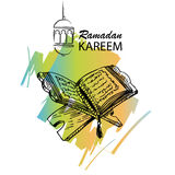 The holy book of the Koran on the stand. The holy book of the Koran on the stand with lettering ramadan kareem Royalty Free Stock Photos