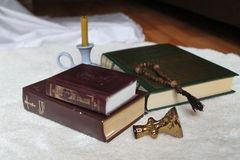 Holy books. Old holy books with golden ornaments on covered full of prayers and love to God Stock Photo