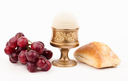 Holy bread. And chalice on white royalty free stock photography