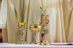 The rite of the Eucharist. The Holy Bread rite, during the Mass, in a catholic church Stock Image