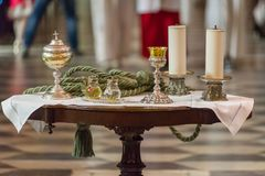The rite of the Eucharist. The Holy Bread rite, during the Mass, in a catholic church Royalty Free Stock Photography