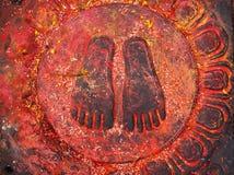 The Holy Buddha Feet - Nepal, Kathmandu, royalty free stock photography