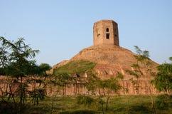 Holy buddhist Chaukhandi Stupa in Sarnath,India stock images