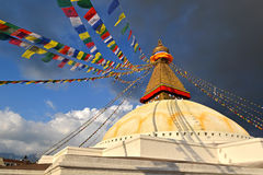 The holy Buddhist Swayambhunath stupa. Kathmandu, Nepal Royalty Free Stock Photos