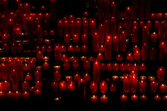 Holy Candles. Candles lighted in the church stock photography