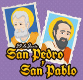 Holy Cards for Solemnity of Saints Peter and Paul, Vector Illustration Royalty Free Stock Images