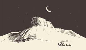 Holy Cave Hira Mecca Saudi Arabia muslim drawn Stock Image
