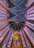 Holy Ceiling. Beautiful stained glass of the Sainte-Chapelle (Holy Chapel), a royal medieval Gothic chapel in Paris, France, on April 10, 2014 Royalty Free Stock Images